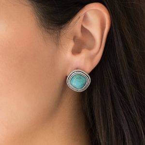 Frontier Runner Blue Turquoise  Square Earrings